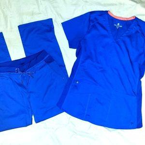 Med Coutour Scrub Set Galaxy Blue Sm Top Xs Pants
